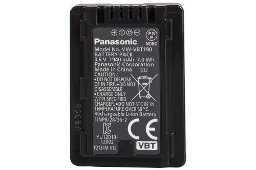 Panasonic VW-VBT190E-K Li-Ion Camcorder Akku (geeignet für Panasonic Camcorder wie VXF999, VX989, W580, V380, V180,V777, V160, 1900mAh)