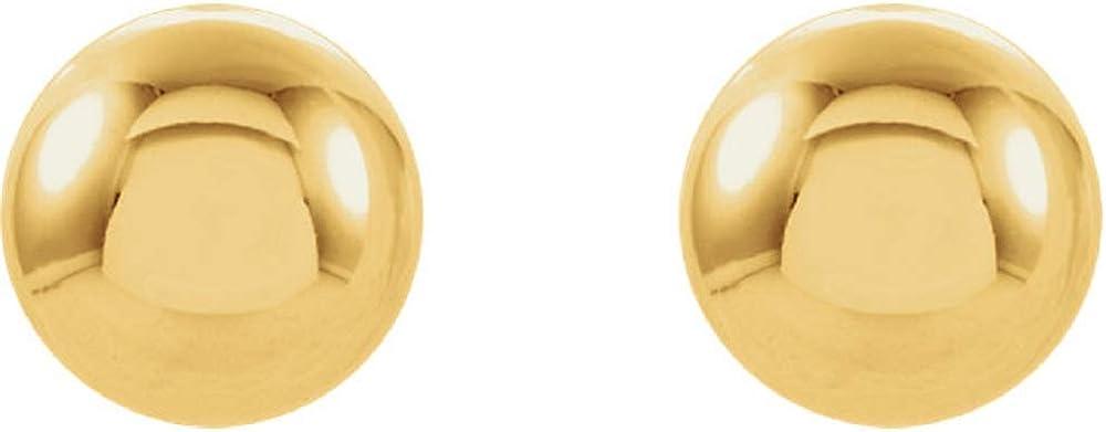 14K Yellow Ball Stud Piercing Earrings