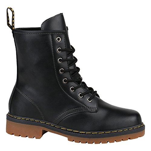 Herren Worker BootsStiefeletten Leder-Optik Camouflage Stiefel Army Look Profilsohle Schnür Schuhe...