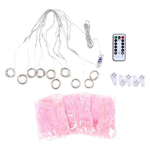YIFengFurun Luces de hadas LED, fuente de alimentación USB de luz de pluma con cable de cobre remoto para decoraciones de fiesta de boda de vacaciones (rosa)