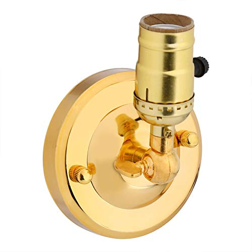 Cikonielf Portalámparas Vintage, Lámpara de Pared E27 con Interruptor para Uso y Decoración Doméstica Apliques de 220V Portalámparas Industrial Lámpara de Pared Decoración del Hogar(Oro)