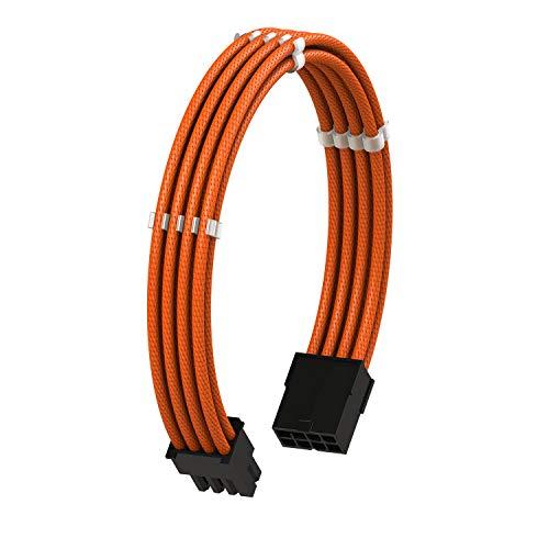 LINKUP - 8 Pines (6+2) GPU PCI-E Fuente de Alimentación PSU Cable de Extensión de PC Personalizado con Funda Trenzada y Peine┃Un Solo Paquete┃30CM 300MM - Naranja