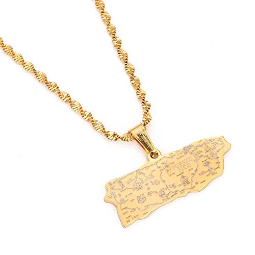 Tovawa Stainless Steel Puerto Rico Map Pendant Necklaces for Women Girl Puerto Ricans Map Jewelry-Gold-Color-
