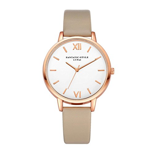 Xinantime Relojes Mujer,Xinan Reloj de Pulsera Reloj Redondo Cuero Imitación (Khaki)