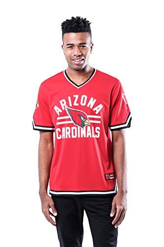 Ultra Game NFL Arizona Cardinals Mens Standard Jersey V-Neck Mesh Stripe Tee Shirt, Team Color, X-Large