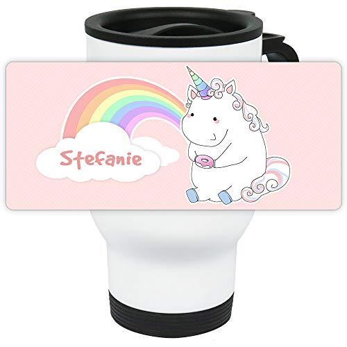 Eurofoto Thermo-Becher mit Namen Stefanie und Motiv Pastell-Einhorn mit Regenbogen und Donut für Mädchen | Thermo-Tasse | Isolier-Becher mit Henkel aus Edelstahl