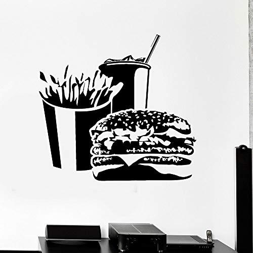 HGFDHG Etiqueta de la Pared de la Hamburguesa Papas Fritas Soda Puertas y Ventanas Pegatinas de Vinilo Snack Bar Restaurante de Comida rápida Decoración de Interiores Papel Tapiz