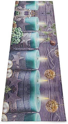 Toalla De Yoga Antideslizante,Feliz Navidad Elk Printing Eco-Friendly Fitness Exercise Mat,Tapetes De Meditación,Ejercicios De Piso Impresos &Pilate Fitness Mat Para Mujer 183×61cm