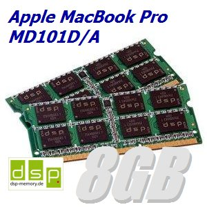 DSP Memory 8GB Speicher/RAM für Apple MacBook Pro MD101D/A (Set aus 2 Modulen)
