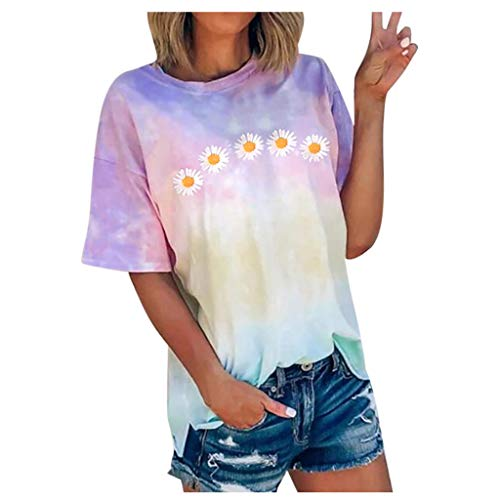 Hffan Frauen Plus Size Loose Kurzarm Print O-Ausschnitt Pullover Tops Shirt