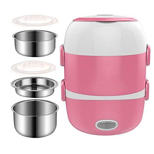 Multifunctionele elektrische lunchbox Three-layer pluggable elektrische verwarming isolatie lunchbox warme lunch box 2L koken met rijst apparaat voor 1-2 personen,Pink