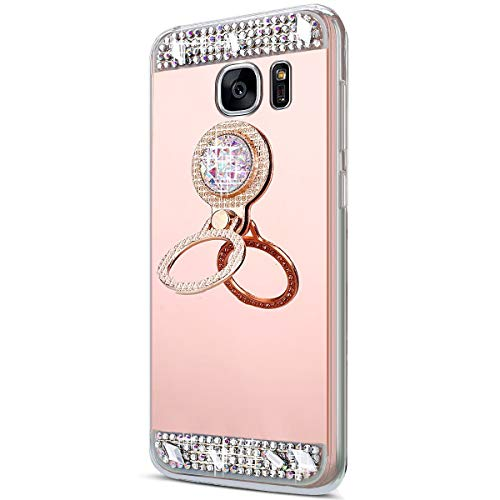 Surakey Cover Compatible con Samsung Galaxy S6 Edge Plus, Specchio Silicone Morbido Cover con Anello Supporto Glitter Bling Strass Chic Mirror Case Ultra Sottile Protettiva Custodia,Oro Rosa
