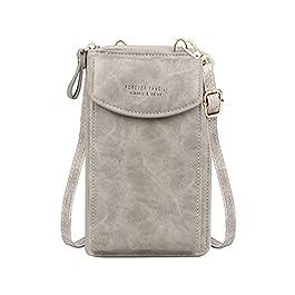 Jangostor Petit sac à bandoulière pour téléphone portable – Avec fentes pour cartes de crédit pour femme, A-gris-2., s,