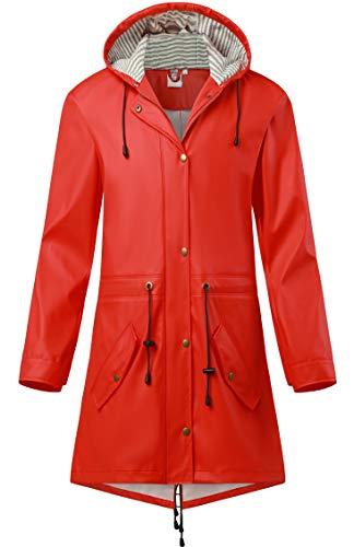 SWAMPLAND Damen PU Regenjacke Mit Kapuze Wasserdicht Übergangsjacke Regenmantel, Rot, Gr.- 38 EU/ Small
