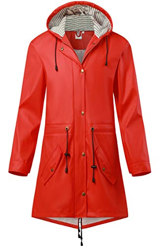 SWAMPLAND Damen PU Regenjacke Mit Kapuze Wasserdicht Regenparka Winddicht Regenmantel, Rot, Gr.- 40 EU/M