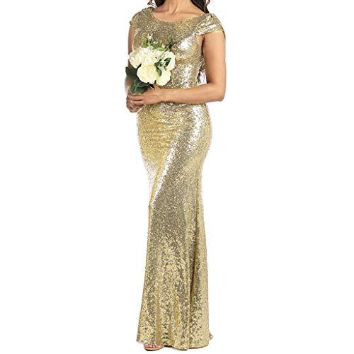 iYmitz Damen Abendkleider Brautjungfernkleider, Damen Hochzeit Festlich Kleider Cocktailkleider Maxikleider Glänzend Partykleider, Glänzend Knielang Partykleid (Gold, S-XL)