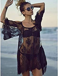 Sling Perspective Hollow Lace Strapless Beach Sexy Dress Blouse High Quality (Color : Black, Size : M)