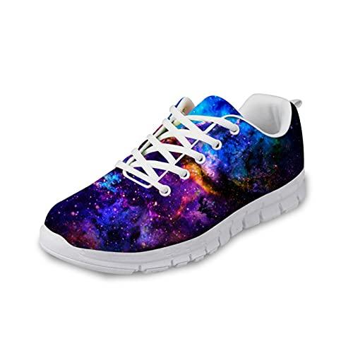 Howilath Ladies Galaxy Zapatos Caminar, Starry Night Space Mesh Shoes Zapatilla Plataforma cuña para Gimnasio Ciclismo Jogging Workout EU 39