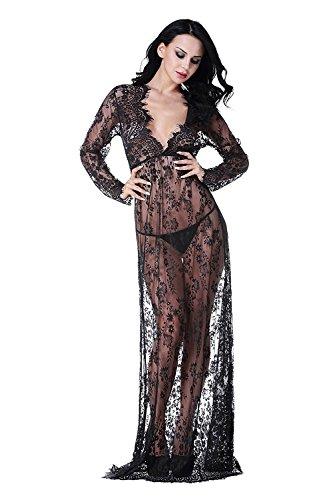 iMixCity Vestito Lungo Donna Collo V Vedere Attraverso Pizzo Abiti Abbigliamento Premaman (Nero, XL: 40/42)