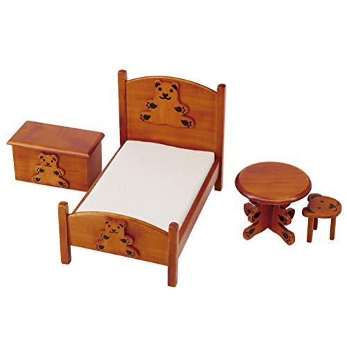 IYSHOUGONG Juego de 4 piezas para casa de muñecas en miniatura, oso marrón