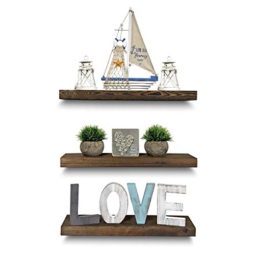 Rustic Farmhouse 3 Tier Floating Wood Shelf - Real Hardwood Floating Wall Shelves (Set of 3), Hardware and Fasteners Included (Walnut, 20
