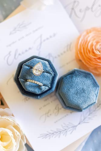 Velvet Rose Designs - Velvet Ring Box, Ring Box, Ring Bearer Box - Double Storage, Soft Fabric - Perfect for Weddings, Engagement, Photography (Dusty Blue Octagon)