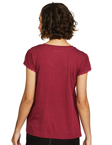 Amazon Brand - Symbol Women's Regular T-Shirt (AW20SYTSMPB02_Purple Wine L)