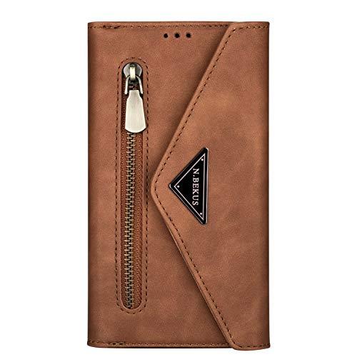 Miagon für Xiaomi Mi 10T Crossbody Reißverschluss Hülle,Brieftasche Geldbörse Handtasche mit Schulterriemen Flip Kartenhalter Ständer PU Leder Cover