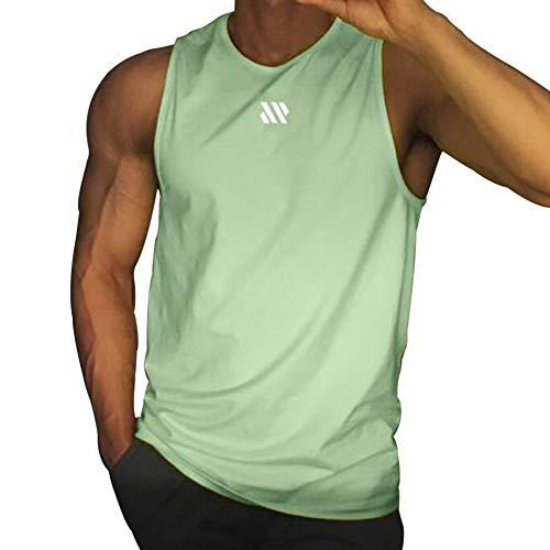 Samy タンクトップ メンズ トレーニング ノースリーブ ボディビル 筋トレ Tシャツ トレーニング スポーツウェア トップス 大きなサイズ BX-097 エメラルドグリーン M