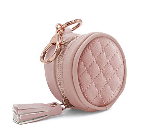 """Itzy Ritzy Pacifier Case with Clip – Pacifier Charm Pod Includes Clasp to Easily Attach to a Diaper Bag or Purse; Measures 2.5"""" in Diameter and Holds 2 Pacifiers, Blush"""