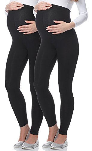 Be Mammy Premamá Leggins Largos Embarazo Lactancia (Negro/Negro, XL)