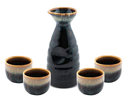 5 Mixed Sake Glasses Shot Cups with Heavy Base for Japanese Sake Decanter Cold Liquor Tequila or Rum ZENS Crystal Sake Cups
