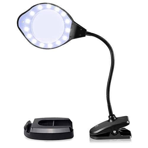 拡大鏡スタンドルーペ LEDライト付き調光3段階 置き型 クリップ対応 、アームの角度を360に調整できる、精密作業に最適
