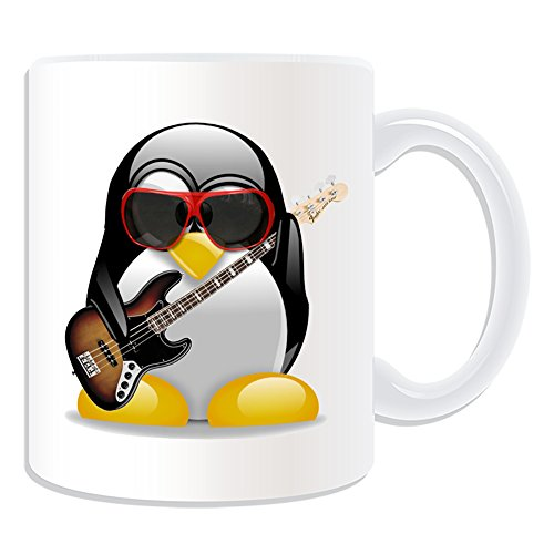 Disfraz de Pingüino de taza de regalo con mensaje personalizado–Bajo Eléctrico (en diseño, color blanco)–Cualquier Nombre/Mensaje en tu Unique–Música Instrumento Musical
