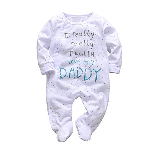 Baby Boys Girls Romper I Really Love My Daddy and Mummy Print Jumpsuit (Daddy, 0-3 Months)