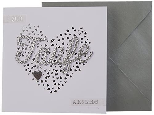 Depesche 8211.052 Glückwunschkarte Glamour mit Verzierung und Glitzer, Taufe