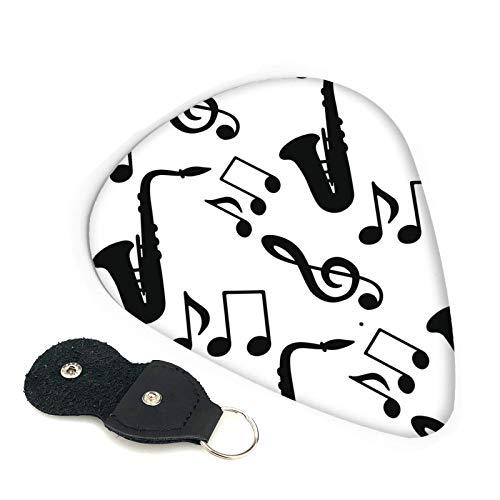 6 púas de guitarra, notas musicales musicales, clave de sol, patrón de saxofón, púa de guitarra, incluye medio fino y pesado para su bajo eléctrico, acústico o bajo