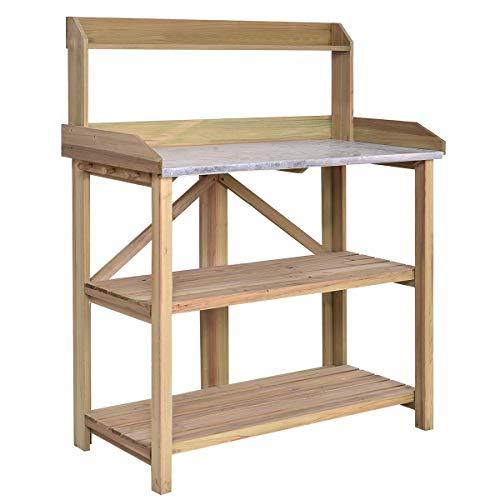COSTWAY Gärtnertisch Holz Pflanztisch Garten Arbeitstisch Gartentisch mit Zinkplatte und Haken, Holzpflanztisch Arbeitsplatte Pflanzregal für...