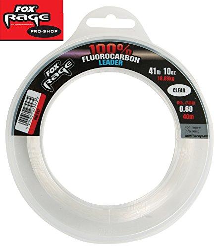 Fox Rage Fluorocarbon Leaders 0,60mm 18,89kg 40m, Fluocarbon Schnur, Vorfachschnur zum Spinnfischen, Angelschnur monofil