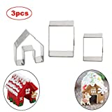 SIENON Gingerbread House Cookie Cutter Set, Bake Your Own Small Christmas House Kit-3 Pieces Stainless Steel Christmas Cookie Cutters, Baking Mold for Christmas