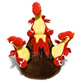 MODERN WAVE - Squeaky Plush Dog Toy Volcano and Dragons - Interactive Hide and Seek Squirrel Type Puzzle Toy for Dogs, Small Size (Volcano and Dragons)
