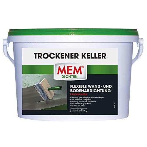MEM 30836421 2K Abdichtung für Wand u. Boden für alle Mauerwerke-dauerhafte Sperrschicht gegen drückende Feuchtigkeit-auch auf feuchten Untergründen-für innen und außen Trockener Keller 5 kg