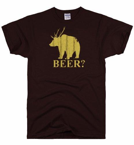 DIRTYRAGZ Men's Beer Deer Bear T Shirt L Brown