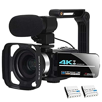 Video Camera Camcorder WiFi Camera 4K Ultra HD Facebook Live Streaming Webcam Recorder Digital YouTube Vlogging Camera Video Recorder Handheld Stabilizer Remote Control, 16X Digital Zoom, 2 Batteries by KOMERY