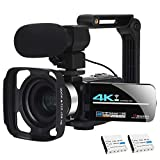 Video Camera Camcorder WiFi Camera 4K Ultra HD Facebook Live Streaming Webcam Recorder Digital YouTube Vlogging Camera Video Recorder Handheld Stabilizer Remote Control, 16X Digital Zoom, 2 Batteries