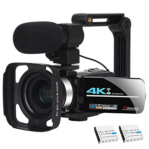 Video Camera Camcorder WiFi Camera 4K Ultra HD Facebook Live Streaming Webcam Recorder Digital YouTube Vlogging Camera Video Recorder Handheld Stabilizer Remote Control, 16X Digital Zoom, 2 Batteries