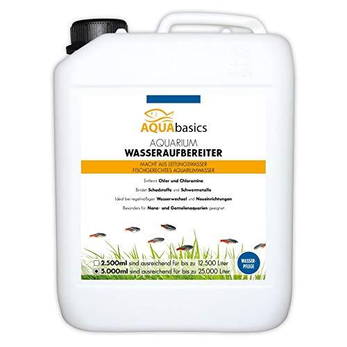 AQUAbasics Aquarium Wasseraufbereiter bereitet Leitungswasser artgerecht auf - Bindet sicher Schadstoffe - Ideale Wasseraufbereitung bei Neueinrichtung oder Wasserwechsel, Größe:5 Liter