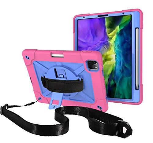QYiD Funda para iPad Pro 11 Pulgada 2020/2018, Carcasa Protectora Rugerizada a Golpes con Soporte y Correa de Mano para iPad Pro 11' 2nd Gen/Pro 11 1st Gen, Carga inalámbrica Pencil 2, Rosa/Azul