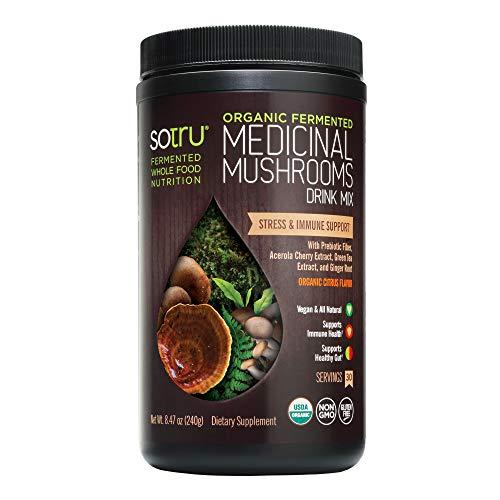 SoTru Medicinal Mushrooms Drink Mix, Citrus Flavor - 8.47 oz. - Cordyceps, Reishi, Agaricus blazei, Shiitake, Maitake & Turkey Tail - Certified Organic, Non-GMO, Vegan, Gluten Free - 30 Servings