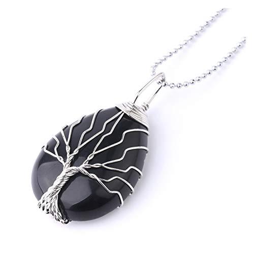 QWERBAM Gota de Agua Árbol de Vida Colgantes Collar Color Plata Wrap Wrap Black Onyx Opal Piedra Colgante Mujeres Hombres Reiki Joyería (Metal Color : Black Onyx Chain)